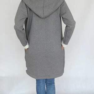 płaszcze dzianina l - xl płaszcz z kapturem szary