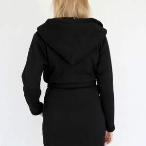 płaszcze dzianina l - xl płaszcz z kapturem czarny