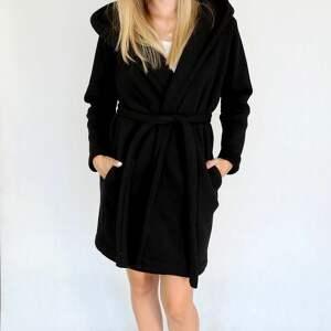 dzianina płaszcze l - xl płaszcz z kapturem czarny