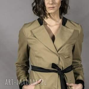 gustowne płaszcze trencz oliwkowy