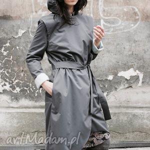 przeciwdeszczowy płaszcze szare płaszczyk asymetryczny, szyję