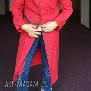płaszcze płaszcz czerwony damski bawełna