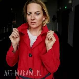 etno płaszcz czerwony damski bawełna