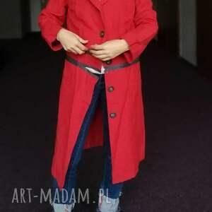 płaszcze etno płaszcz czerwony damski bawełna
