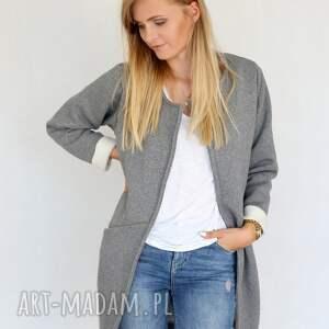 efektowne płaszcze bawełna płaszcz długi narzutka s - m szary