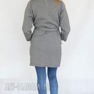 efektowne płaszcze dzianina płaszcz długi narzutka s - m szary