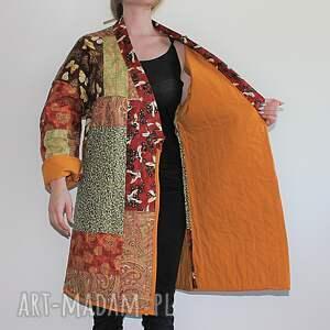 eleganckie płaszcze płaszcz patchworkowy długi