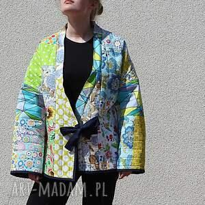 ciekawe płaszcz patchworkowy z wiązaniem