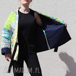 PatchworkArt płaszcze: Płaszcz patchworkowy z wiązaniem - waciak bawelna