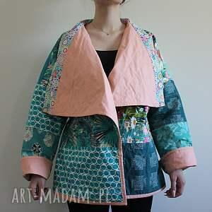 płaszcz płaszcze turkusowe patchworkowy - waciak