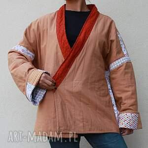 waciak płaszcze brązowe patchworkowy z wiązaniem, ręcznie