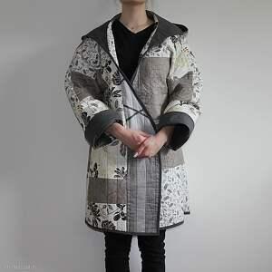 szare płaszcze folk płaszcz patchworkowy długi