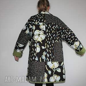 płaszcz płaszcze brązowe patchworkowy długi - waciak, ręcznie
