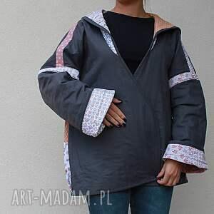 płaszcz płaszcze patchworkowy z kapturem