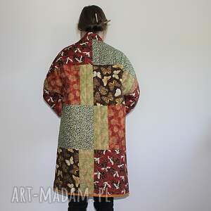 zielone płaszcze patchwork płaszcz patchworkowy długi