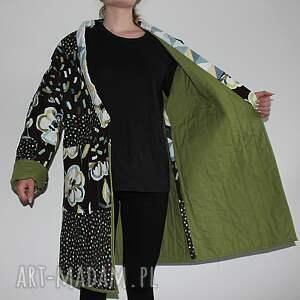 szare płaszcze patchwork płaszcz patchworkowy długi