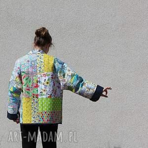 żółte płaszcze waciak płaszcz patchworkowy z wiązaniem