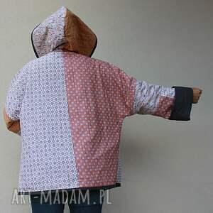 szare płaszcze waciak płaszcz patchworkowy z kapturem