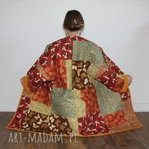 płaszcz płaszcze brązowe patchworkowy długi
