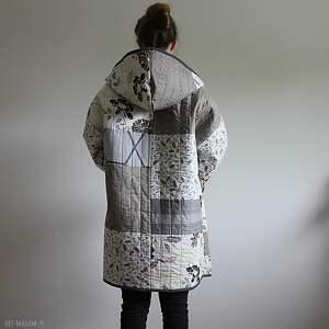 ciekawe płaszcze waciak płaszcz patchworkowy długi
