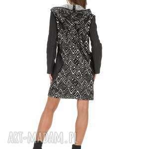 czarne płaszcze lużny płaszcz z pikowanymi rękawami rozm