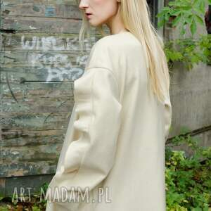 płaszcze midi wełniany płaszcz ecru