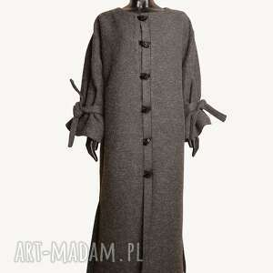 płaszcze wiązane-rękawy wełniany płaszcz maxi