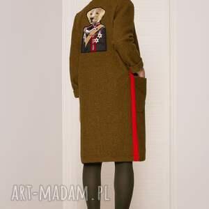 płaszcze khaki wełniany sweter/płaszcz z psem