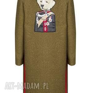 hand-made płaszcze khaki wełniany sweter/płaszcz z psem