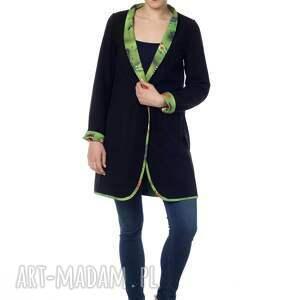zielone designerski wyjątkowy dwustronny płaszcz