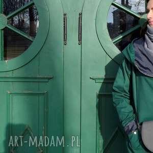 płaszcze: Zielony szmaragdowy płaszcz oversize ogromny kaptur na jesień rozmiar S butelkowa zieleń