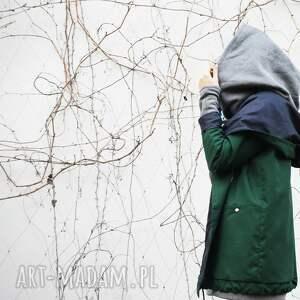 Agagu płaszcze: Zielony szmaragdowy płaszcz oversize ogromny kaptur na jesień rozmiar S zimowy plaszcz