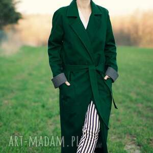 płaszcze: Zielony Szop - butelkowa trench