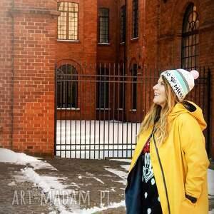 płaszcze kurtka parka żółty płaszcz oversize ogromny