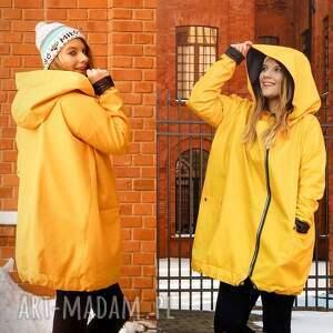 ręczne wykonanie płaszcze kurtka z-kapturem żółty płaszcz oversize ogromny