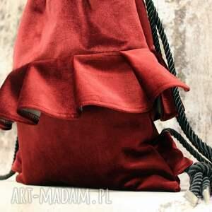 plecaki welurowy bbag aksamitny rubin