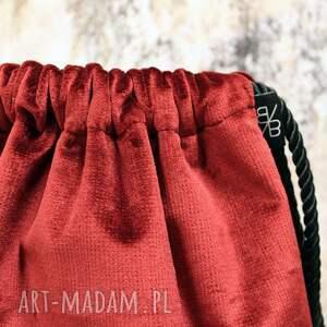 ręcznie robione plecaki aksamitny bbag rubin