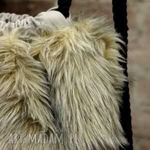 gustowne plecaki futerko bbag grey wind plecak worek