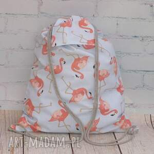 hand made ptaki flamingi worek - plecak