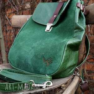 efektowne plecaki zieleń lilith plecak/torba zielona skóra