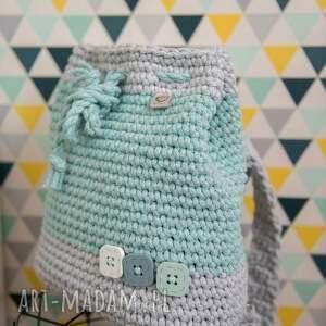 szydełko melanż & mięta - plecak, worek, torba z