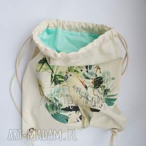 białe eco papuga plecak / worek torba -