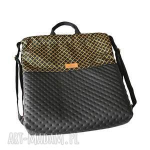 hand made plecak worek eko skóra czarny & złote