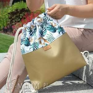 atrakcyjne plecak złoty eko skóra &