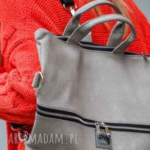 plecak / torba 2 w 1 z szarej skóry