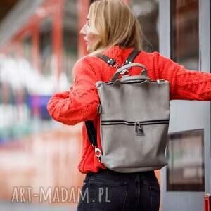 efektowne plecak 2w1 / torba 2 w 1 z szarej skóry
