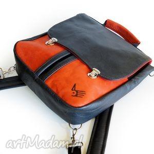teczka plecak / torba czarno czerwona