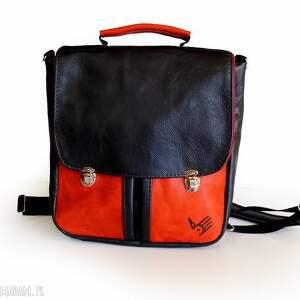 ręcznie wykonane teczka plecak / torba czarno czerwona