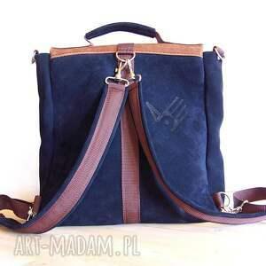 brązowe plecaki granat plecak / torba granat-orzech