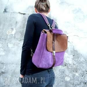 skóra plecaki plecak / torba liliowo-brązowa